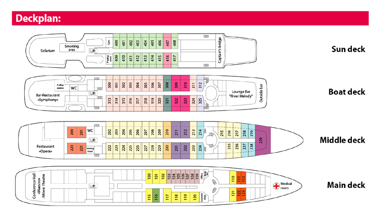 Deck Plan, deluxe MS Rostropovich river boat, navigation 2018