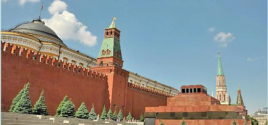 Red Square with Kremlin Wall, Lenin Mausoleum, Moscow Russia
