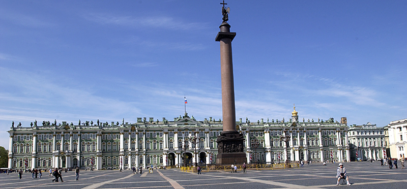 Historical Palace Square with Alexander Column next to Hermitage, St. Petersburg Russia