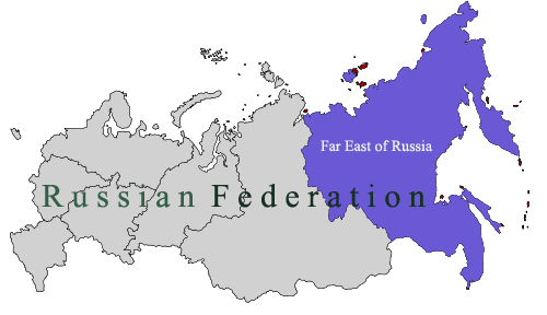 Far East Federal Region on the Map of Russia
