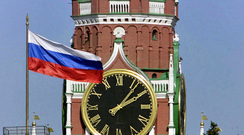 The Kremlin Clock Kremlin Chimes a historic clock on the Spasskaya Tower of Moscow Kremlin