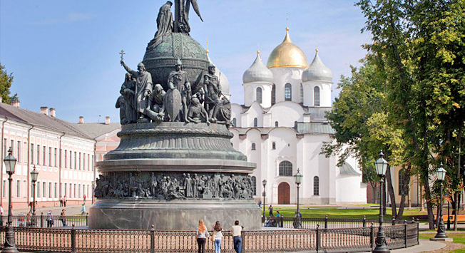Ancient town of Veliky Novgorod: Millennium monument & St. Sophia Cathedral