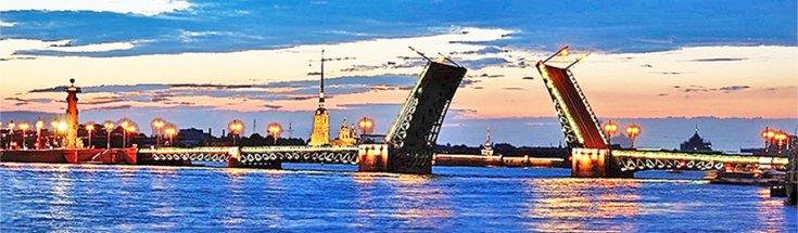 Drawn Bridge over Neva River, White Nights St. Petersburg