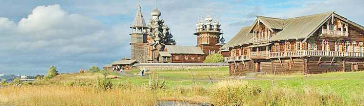Wooden architecture of Kizhi Island, Northern Russia, along 2018 classic river cruise between Moscow - St. Petersburg